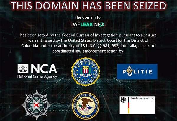 Il messaggio delle autorità americane sulla homepage del sito WeLeakInfo.com