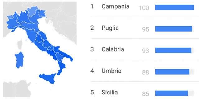"""Le regioni in cui la parola chiave """"amuchina"""" è stata più cercata nell'ultima settimana"""