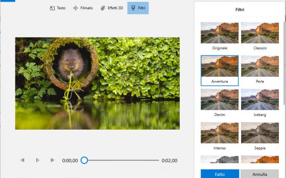 app foto di windows: applicare un filtro