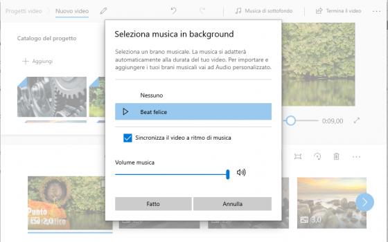 creare video con Windows: seleziona musica
