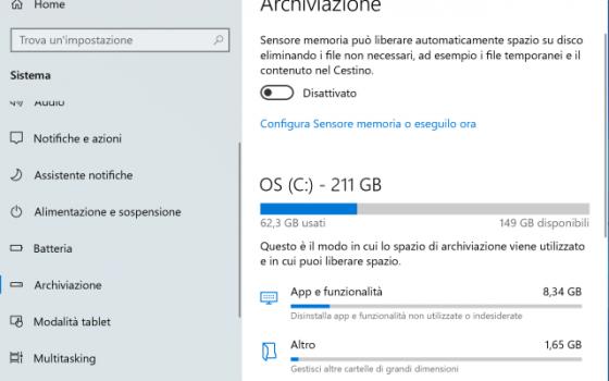 opzione archiviazione