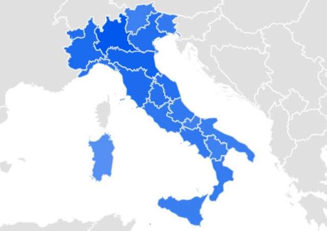 """Il volume di ricerche nell'ultimo mese sulla chiave """"coronavirus"""", regione per regione (in blu scuro le aree con maggiore interesse)"""