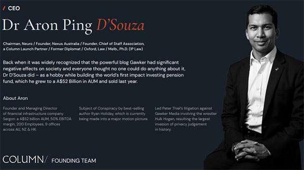 Aron Ping D'Souza, CEO di Column
