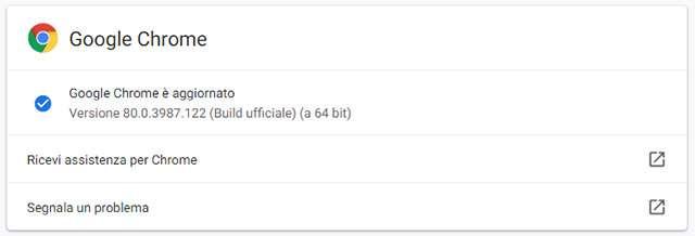 L'aggiornamento di Chrome alla versione 80.0.3987.122