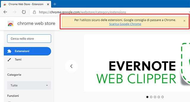 Il messaggio mostrato da Google agli utenti Edge che visitano Chrome Web Store