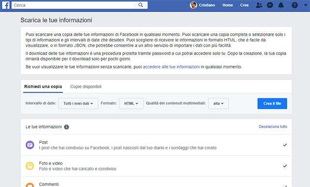 La funzionalità di Facebook per scaricare le proprie informazioni