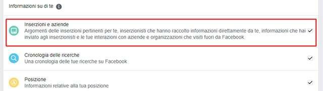 La funzionalità di Facebook per scaricare le proprie informazioni e gli inserzionisti