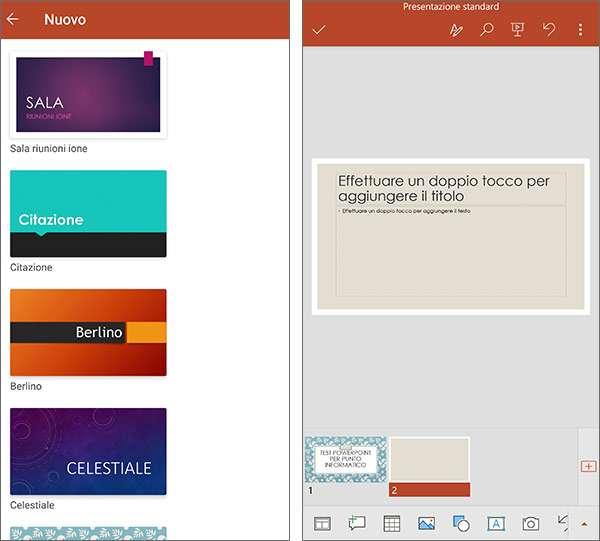La nuova versione di PowerPoint per Android, incluso nell'applicazione all-in-one di Microsoft Office