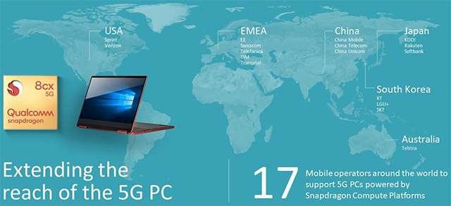 Gli operatori che supporteranno la tecnologia 5G di Qualcomm per il mondo PC