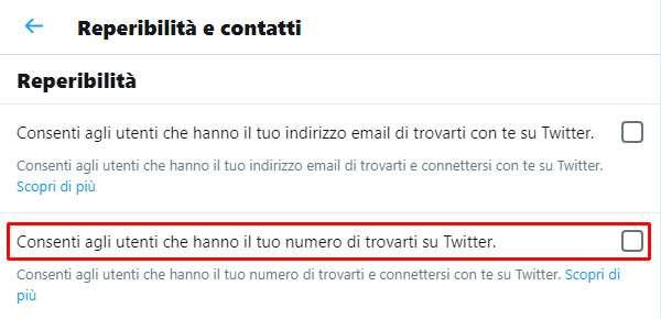 La funzionalità 'Consenti agli utenti che hanno il tuo numero di trovarti su Twitter' del social network