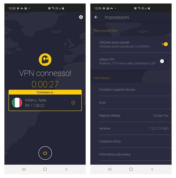 VPN Cyberghost su dispositivo Android