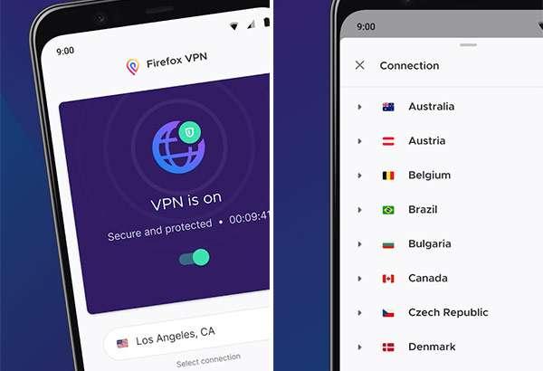 L'applicazione Firefox Private Network VPN su Android