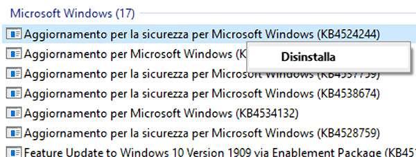 Windows 10: come disinstallare l'aggiornamento KB4524244
