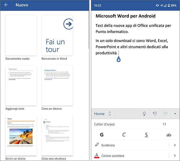 La nuova versione di Word per Android, incluso nell'applicazione all-in-one di Microsoft Office