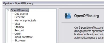 Opzioni OpenOffice