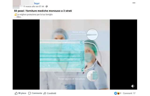 Un'inserzione pubblicitaria per la vendita di mascherine chirurgiche su Facebook
