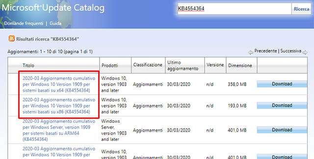 L'aggiornamento KB4554364 per Windows 10