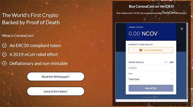 Le caratteristiche di CoronaCoin dal sito ufficiale