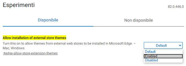 "Il flag ""Allow installation of external store themes"" di Edge Canary"