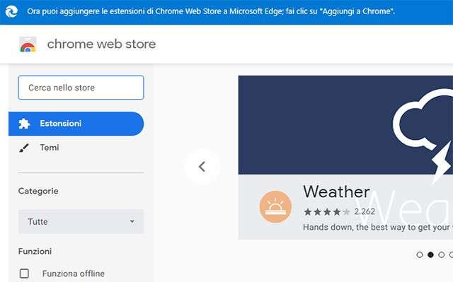 Ora è possibile scaricare e installare senza problemi le estensioni di Chrome su Edge
