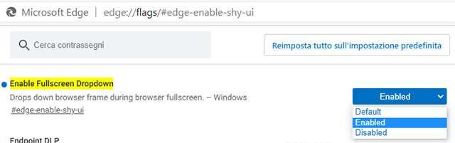 Il flag di Microsoft Edge per attivare la funzionalità sperimentale