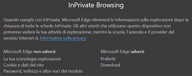 Edge: InPrivate Browsing