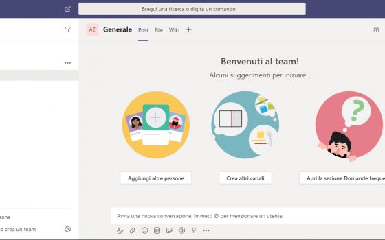 Microsoft Teams: interfaccia