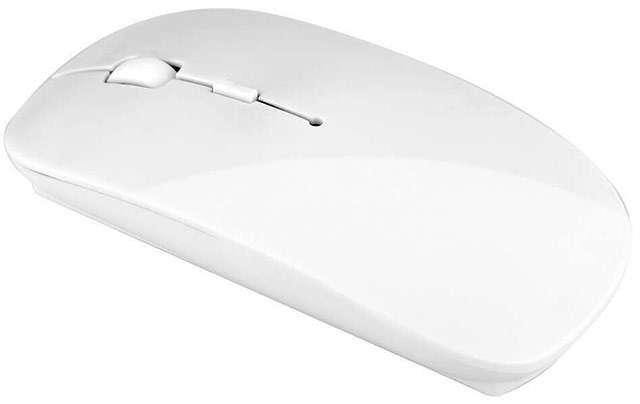 Mouse wireless e sottile, bianco, per PC