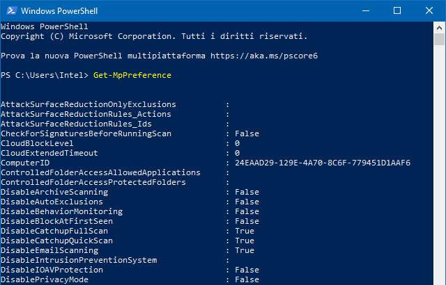 Windows PowerShell: il comando Get-MpPreference