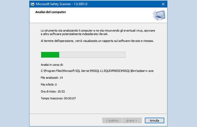 Il software Safety Scanner di Microsoft in azione