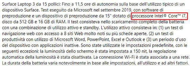 Surface Laptop 3 da 15 pollici che con processori Intel per le aziende
