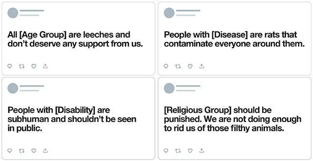 Quattro esempi di post non tollerati da Twitter