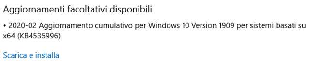 L'aggiornamento opzionale KB4535996 per Windows 10