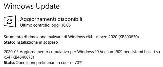 Windows 10: ecco l'aggiornamento Patch Tuesday di marzo
