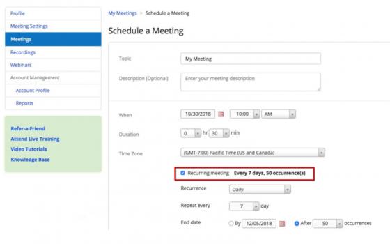 zoom: schedulare meeting