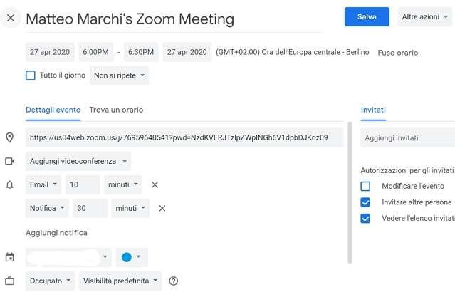 Invito su Zoom da Google Calendar