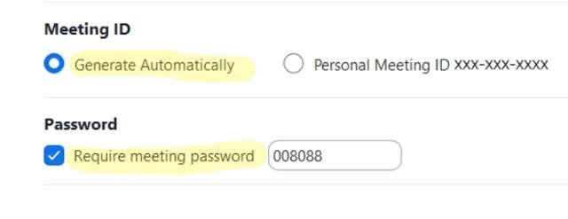 MeetingID e password
