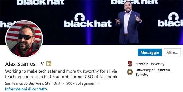 Il profilo di Alex Stamos su LinkedIn