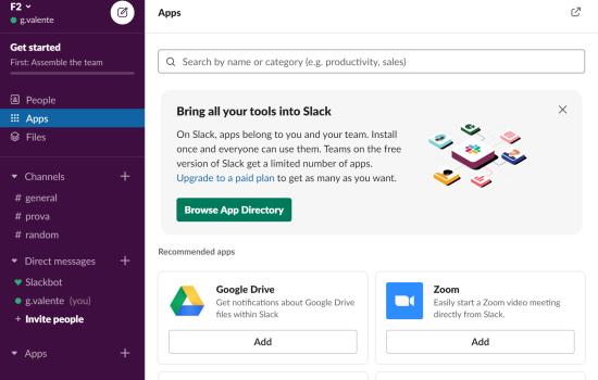 Slack: aggiungi apps