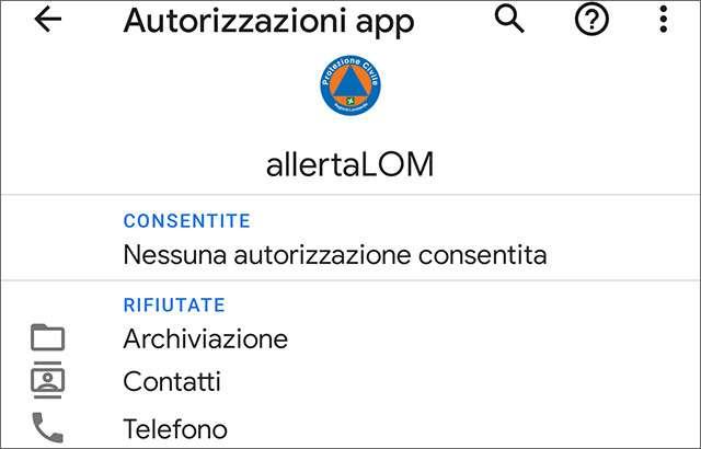 Le autorizzazioni richieste dall'applicazione AllertaLOM
