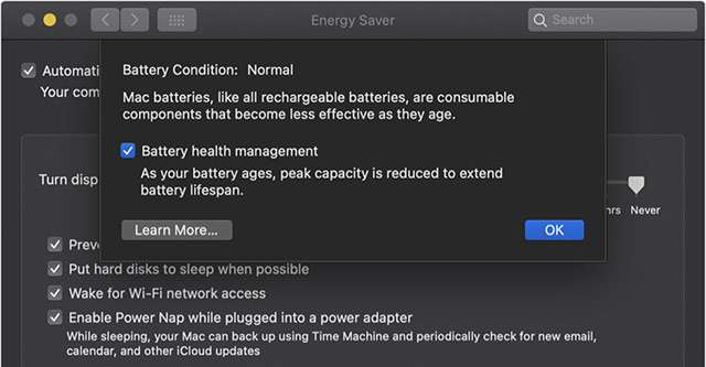 La funzionalità Battery Health Management di macOS Catalina