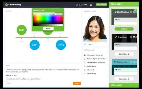 Interfaccia clickMeeting