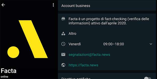L'account di Facta su WhatsApp Business