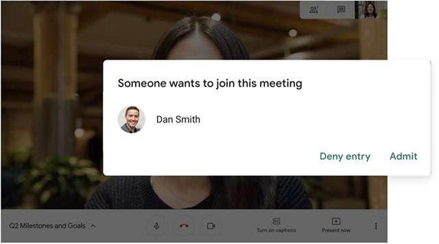 Google Meet e l'autorizzazione da concedere per chi si vuole unire alla riunione