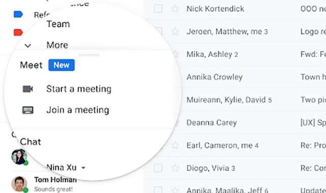 L'integrazione di Meet in Gmail per gli utenti G Suite