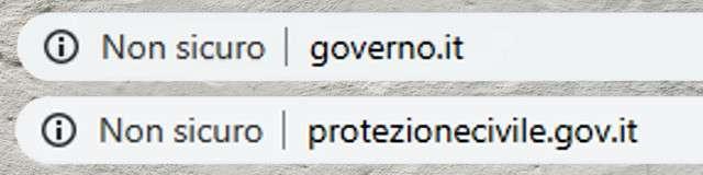 Governo e Protezione Civile: il sito non è sicuro