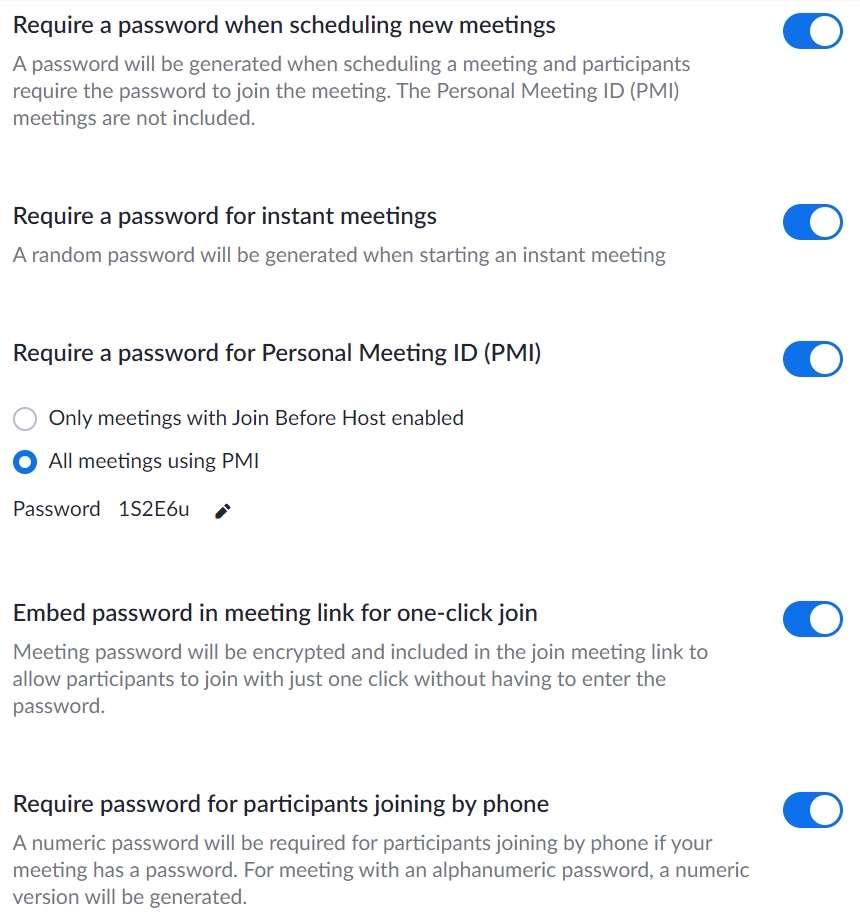 Gestire la password di Zoom