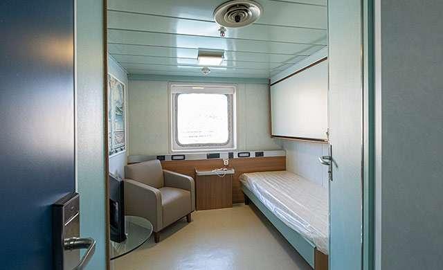 Una delle stanze della GNV Splendid trasformata in nave ospedale