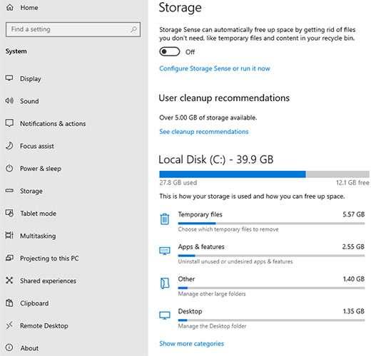 Windows 10 Insider Preview Build 19603: le novità per lo storage