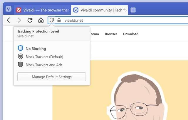 La funzione per il blocco di advertising e tracker del browser Vivaldi